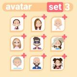 Homem do ícone do perfil e grupo fêmea do Avatar, retrato dos desenhos animados da mulher do homem, Person Face Collection ocasio Imagens de Stock
