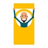 Homem do ícone dos desenhos animados Vector o indivíduo novo da ilustração com um sinal em f Fotos de Stock
