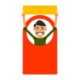 Homem do ícone dos desenhos animados Vector o indivíduo novo da ilustração com um sinal em f Fotografia de Stock Royalty Free
