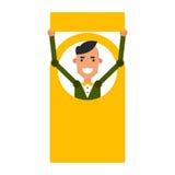 Homem do ícone dos desenhos animados Vector o indivíduo novo da ilustração com um sinal em f Foto de Stock