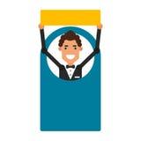 Homem do ícone dos desenhos animados Vector o indivíduo novo da ilustração com um sinal em f Foto de Stock Royalty Free