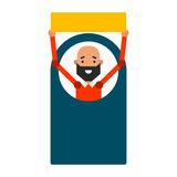 Homem do ícone dos desenhos animados Vector o indivíduo novo da ilustração com um sinal em f Imagens de Stock