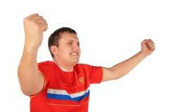 Homem do aficionado desportivo com mãos acima Fotografia de Stock Royalty Free