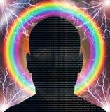 Homem do código binário Fotografia de Stock