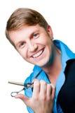 Homem do cabeleireiro com as tesouras no branco isolado Foto de Stock