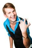Homem do cabeleireiro com as tesouras no branco isolado Imagens de Stock