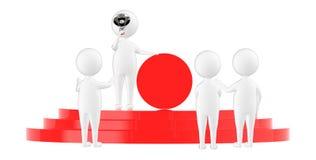 homem do caráter 3d, guardando um megafone e mostrando um crachá vazio do círculo ao estar sobre um pódio com uns três povos que  ilustração stock