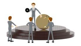 homem do caráter 3d, guardando um megafone e mostrando um crachá vazio do círculo ao estar sobre um pódio com uns três povos que  ilustração do vetor