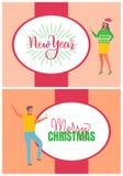 Homem do cartaz do Feliz Natal e mulher, chapéu do carnaval ilustração stock