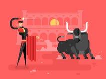 Homem do charcter da tourada ilustração do vetor
