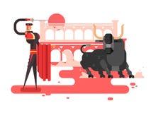 Homem do charcter da tourada ilustração stock