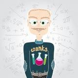 Homem do cientista na camiseta e nos vidros professor Fórmulas matemáticas Fotografia de Stock