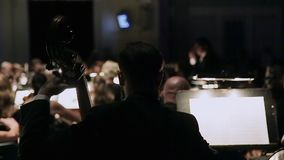Homem do close-up que joga o contrabaixo Um grupo de violinistas na orquestra durante um concerto da sinfonia O condutor dirige filme