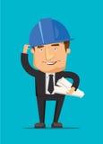 Homem do coordenador de construção do cozinheiro chefe e trabalhador do arquiteto com o modelo da construção do CEO e uma ilustra ilustração stock