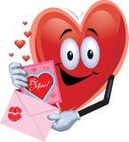 Homem do coração com cartão do Valentim Fotos de Stock Royalty Free