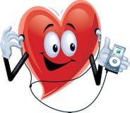 Homem do coração com o jogador MP3 Fotografia de Stock