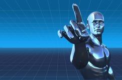 Homem do Cyborg no fundo digital Fotografia de Stock Royalty Free