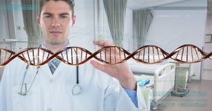 Homem do doutor com a costa do ADN 3D Imagens de Stock Royalty Free