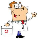 Homem do doutor que carreg seu saco dos primeiros socorros ilustração do vetor