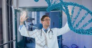 Homem do doutor que interage com a costa do ADN 3D Fotos de Stock Royalty Free