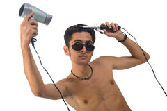 Homem do encanto com hairdryer Fotos de Stock Royalty Free