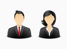 Homem do escritório e avatar da mulher Fotos de Stock