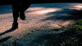 Homem do esporte que corre na estrada asfaltada Parque rural da cidade Raios verdes da floresta e do sol da árvore no horizonte video estoque