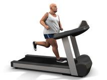 Homem do excesso de peso na escada rolante Fotos de Stock Royalty Free
