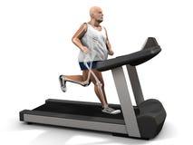 Homem do excesso de peso na escada rolante Fotografia de Stock