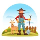 Homem do fazendeiro com pá e cabra no campo Imagens de Stock