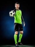 Homem do futebol do goleiros isolado Fotografia de Stock Royalty Free