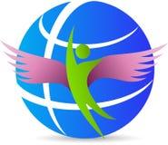 Homem do globo com asas ilustração stock