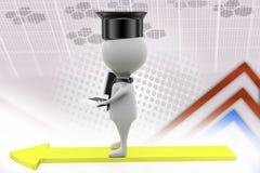 homem do graduado 3d com ilustração do portátil Imagem de Stock Royalty Free