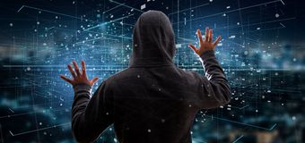Homem do hacker que guarda a rendição binária da nuvem 3d dos dados Foto de Stock