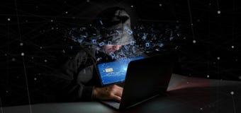 Homem do hacker que guarda um conceito sem contato 3d do pagamento com cartão de crédito Fotografia de Stock Royalty Free