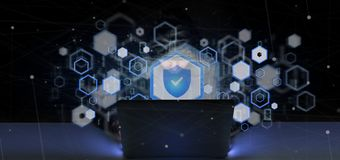 Homem do hacker que guarda uma rendição do conceito 3d da segurança da Web do cadeado Foto de Stock Royalty Free