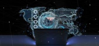 Homem do hacker que guarda uma rendição da relação 3d da tecnologia Imagem de Stock Royalty Free