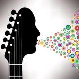 Homem do headstock da guitarra Fotografia de Stock Royalty Free