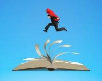 Homem do homem de negócios que leva o sinal vermelho da seta que corre no livro aberto ilustração do vetor