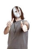 Homem do horror que gesticula os polegares acima Fotografia de Stock