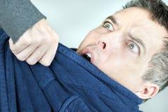 Homem do Housecoat no desacordo físico Foto de Stock Royalty Free