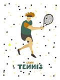 Homem do indiv?duo do jogador de t?nis com raquete e bola ilustração stock