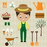 Homem do jardineiro com ferramentas de jardim Foto de Stock Royalty Free