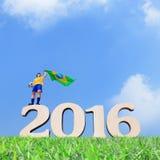 Homem do jogador de futebol de Brasil Fotos de Stock Royalty Free