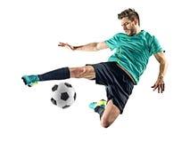 Homem do jogador de futebol isolado fotografia de stock royalty free