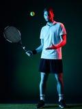 Homem do jogador de tênis isolado Imagens de Stock
