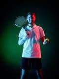 Homem do jogador de tênis isolado Fotos de Stock Royalty Free