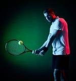 Homem do jogador de tênis isolado Foto de Stock Royalty Free