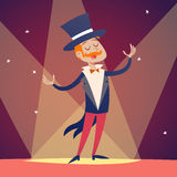 Homem do menino do anfitrião da mostra do circo no terno com chapéu do cilindro ilustração do vetor