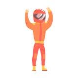 Homem do motorista de corridas de carros em um uniforme alaranjado e nos fãs do cumprimento do capacete, competindo a ilustração  Imagens de Stock